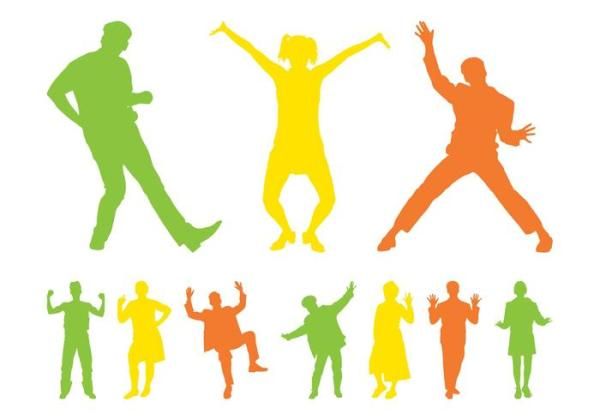 Happy People Silhouettes Download Free Vector Art Stock