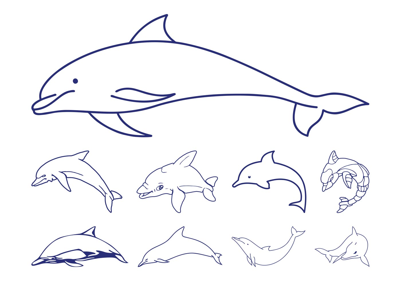 Dolphins Outlines
