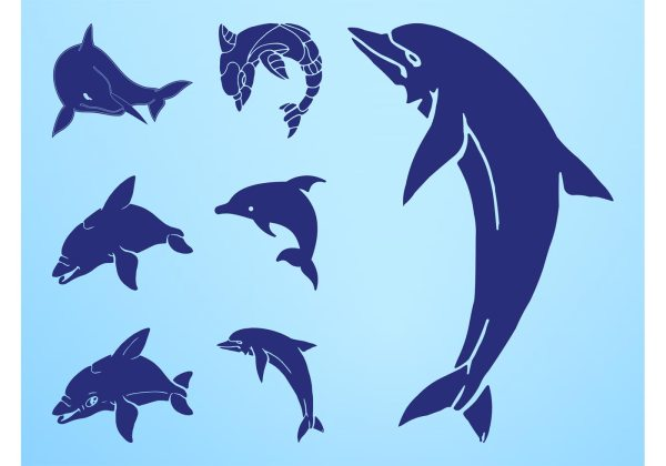 Dolphin Silhouettes Set - Free Vector Art Stock