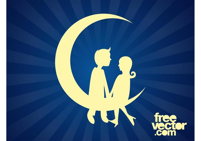 Download Couple Sitting On Moon - Download Free Vector Art, Stock ...