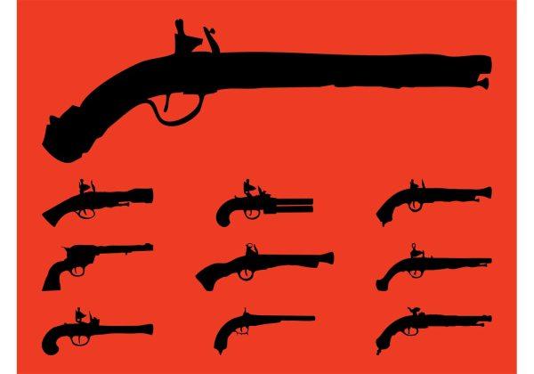 Vintage Guns Silhouettes - Free Vector Art Stock