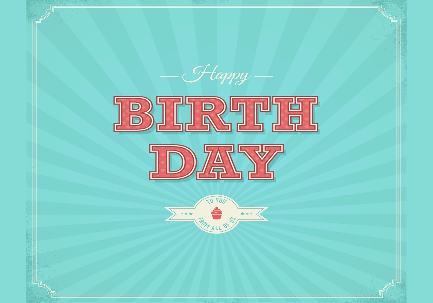 Cute Birthday Cake Wallpaper Retro Happy Birthday Typographical Background Vector