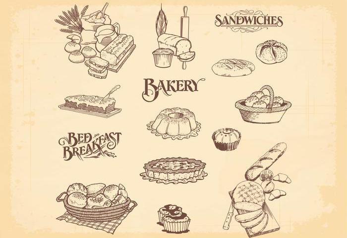 Hand Drawn Bakery Bread Vectors Download Free Vector Art Stock