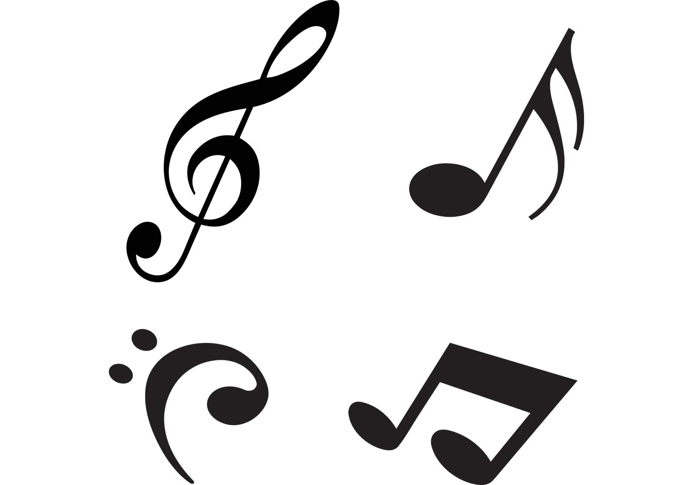 Modern Music Notes Vectors