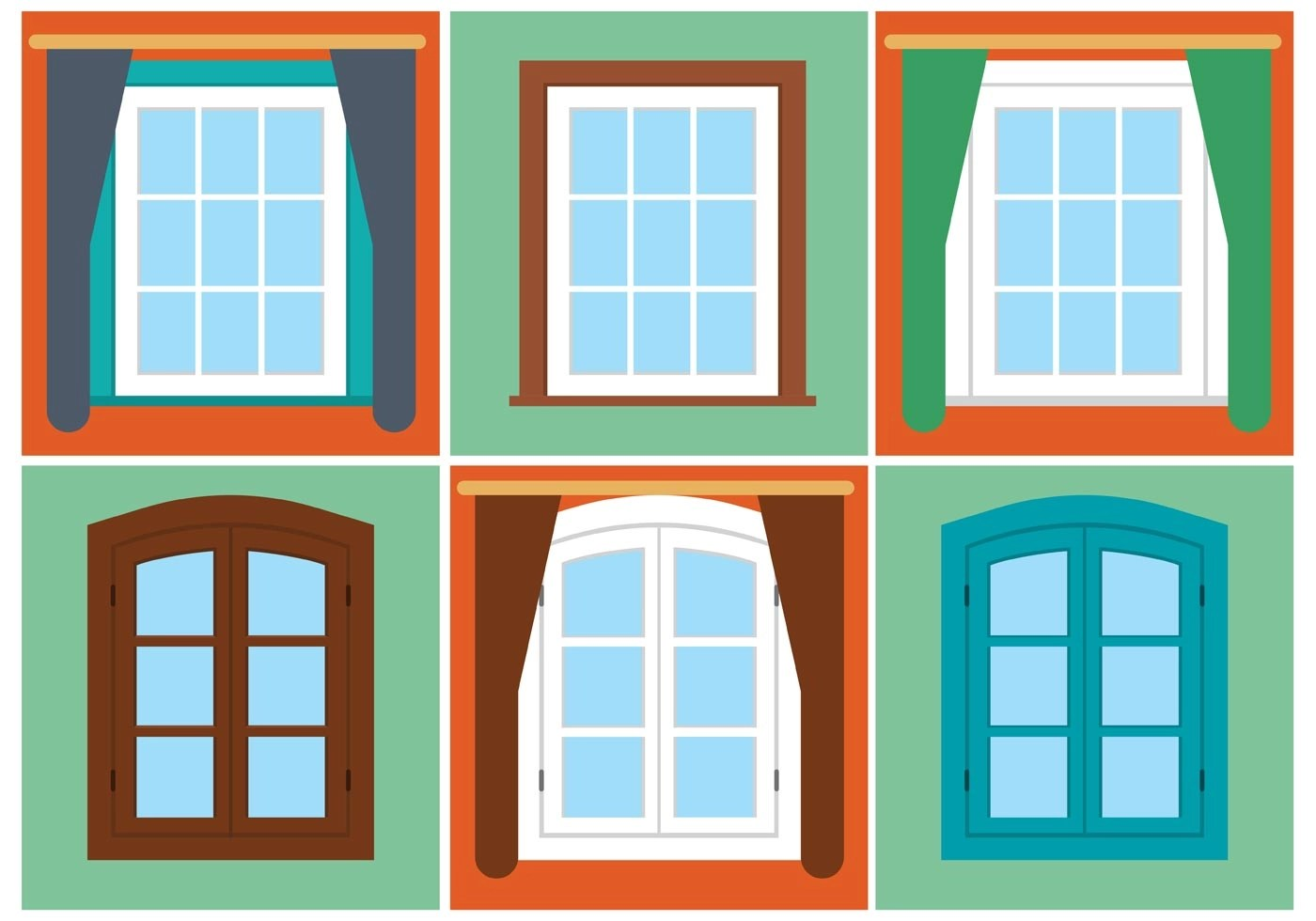 Free Vector Vintage Window Set Download Free Vectors Clipart Graphics Amp Vector Art