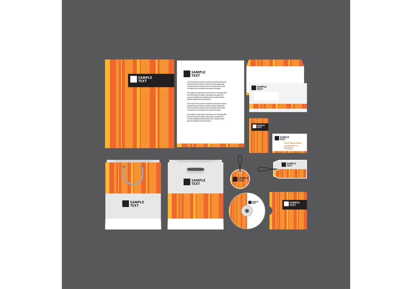 Orange Striped Company Profile Template  Download Free Vector Art Stock Graphics  Images