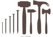 silhouette hammer and nail icons