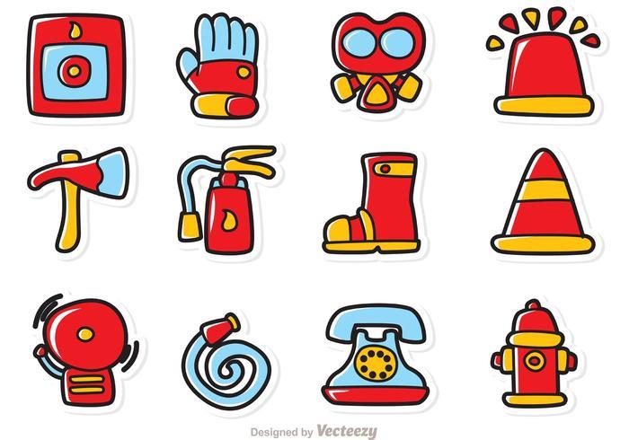 cartoon fireman icons vector
