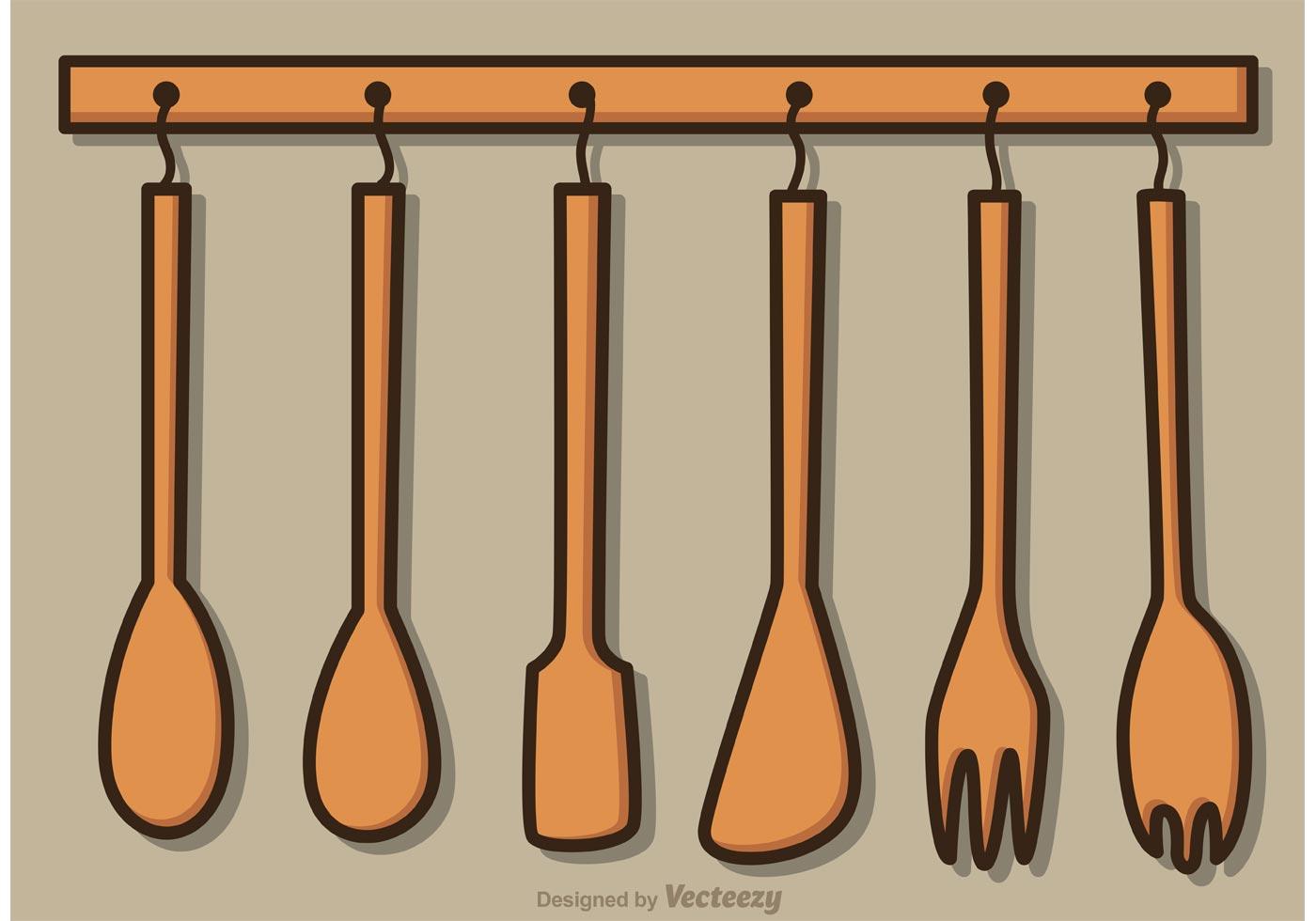 kitchen utensil sets home depot designs hanging wood utensils vector pack - download free ...