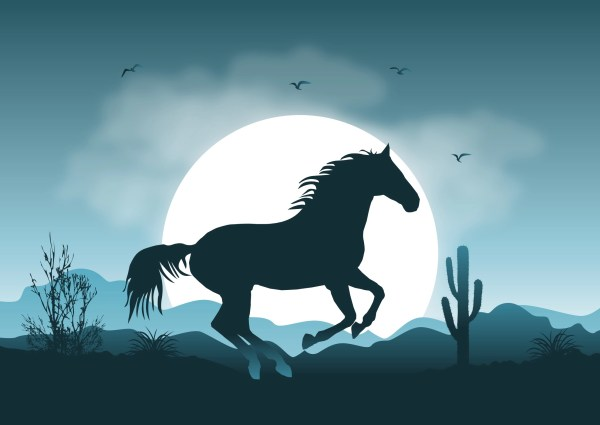 Wild Horse Landscape Illustration - Free Vector