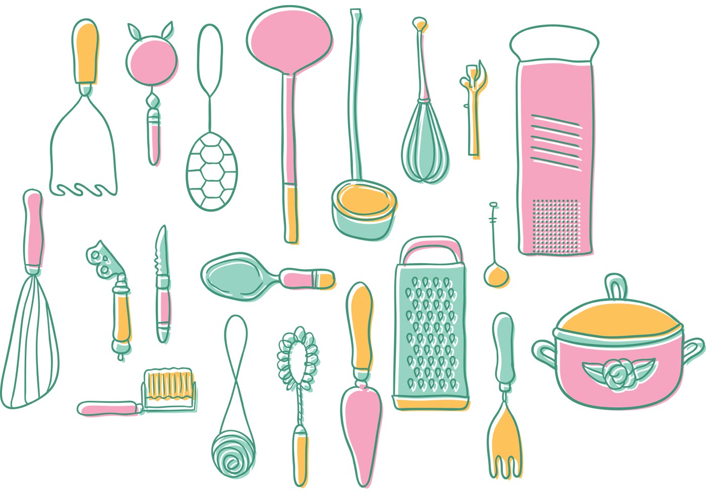 cute kitchen gadgets island with oven vintage utensils vectors download free vector