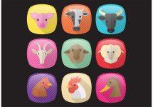 Farm Animals Icons - Free Vector Art Stock