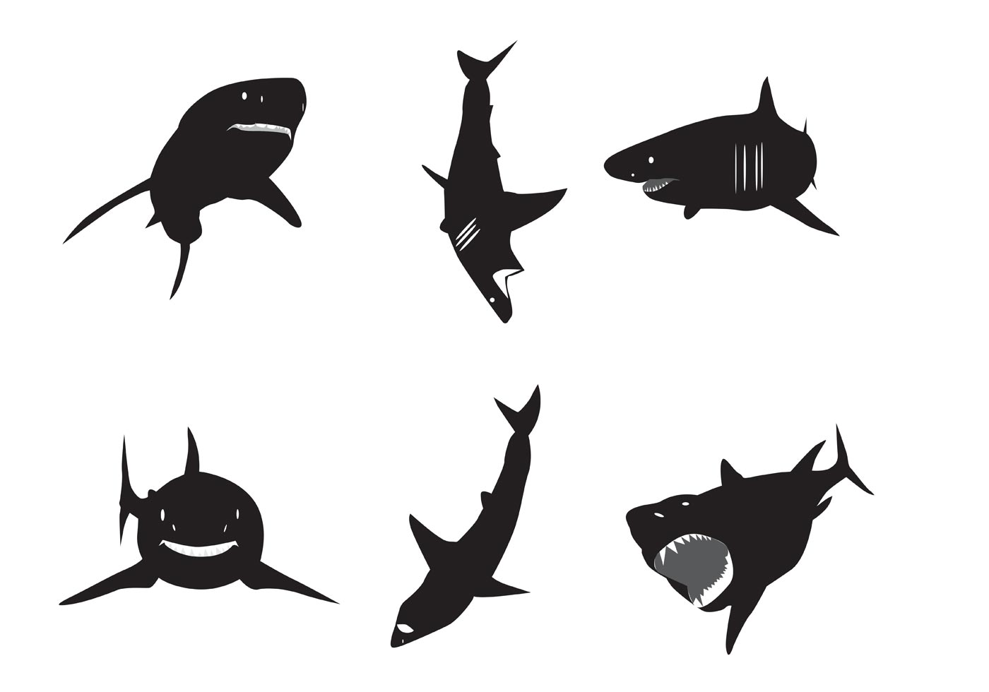 Vector Great White Shark Silhouettes