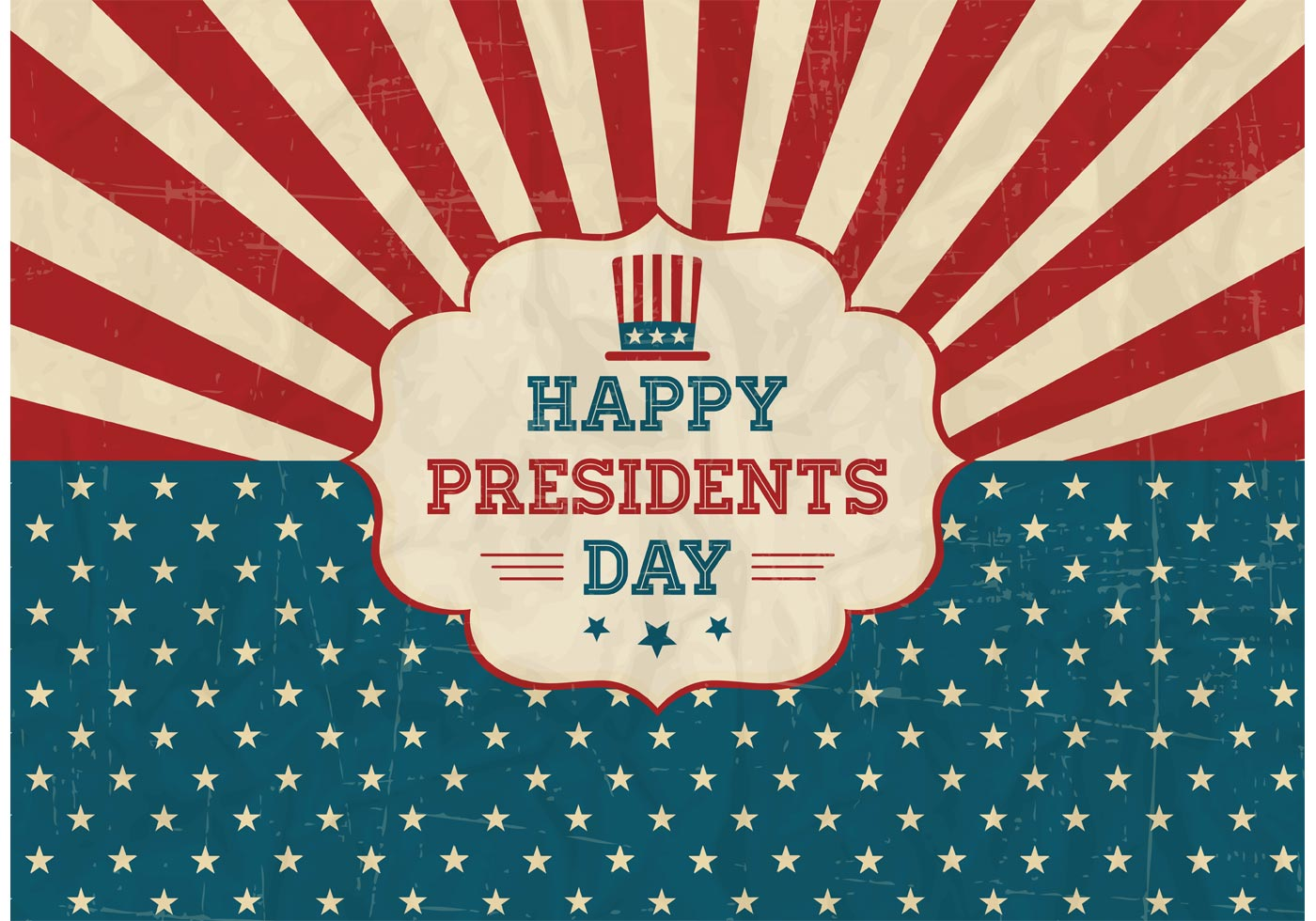 Free Happy Presidents Day Retro Vector Poster