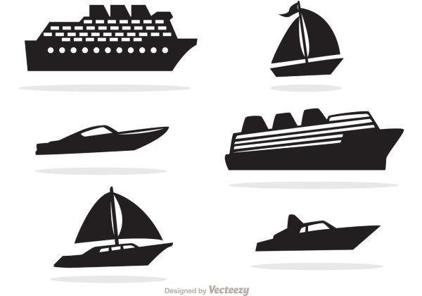Ship And Boat Black Icons Vector - Free Art Stock Graphics &