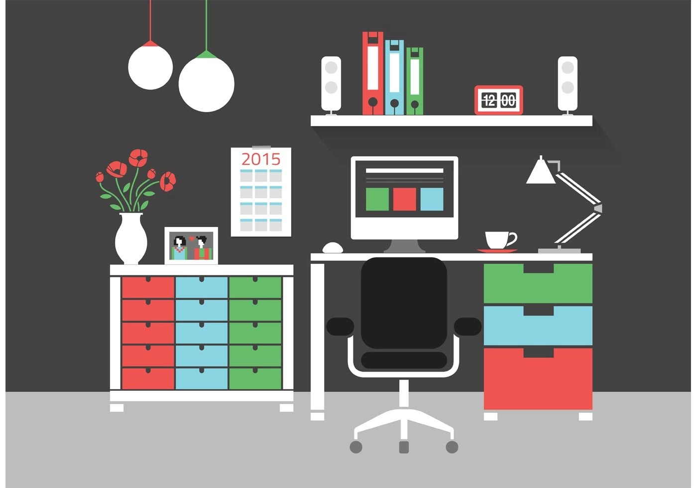 Free Modern Home Office Interior Vector Icons  Download Free Vector Art Stock Graphics  Images