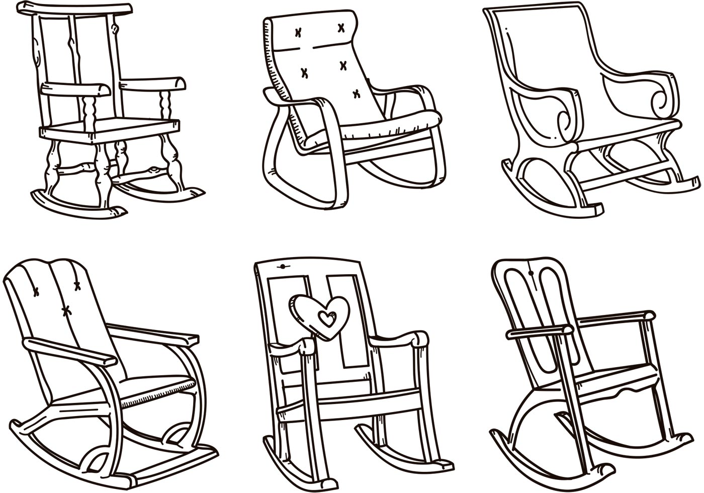 Rocking Chair Vector Sketches  Download Free Vector Art