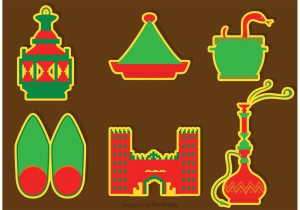 morocco culture icons vectors
