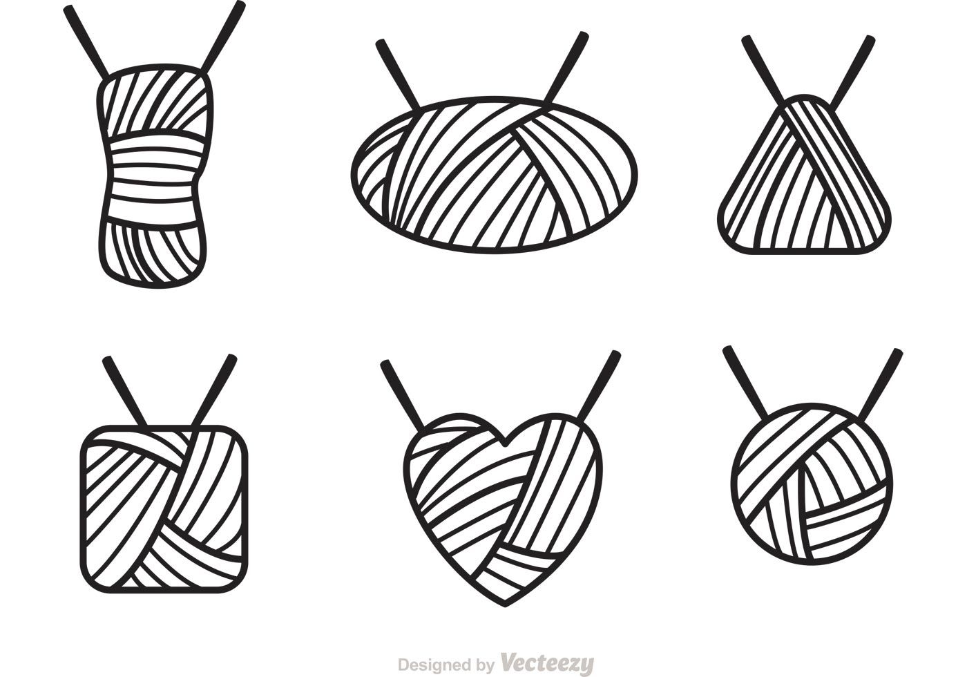 Ball Of Yarn Outline Icons Vector