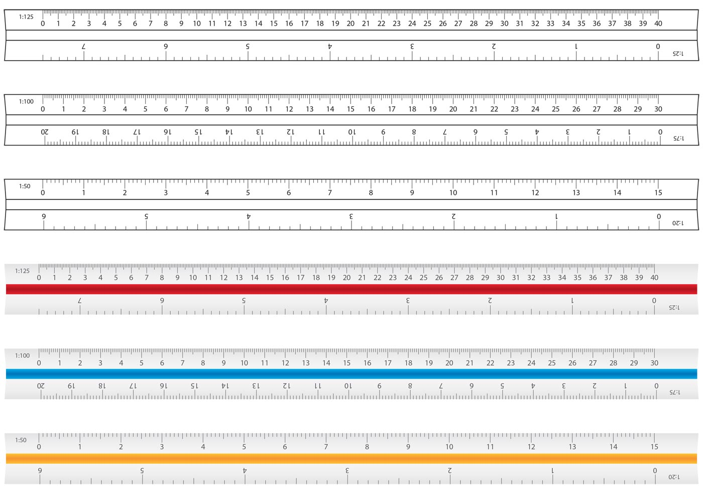 Architecture And Drafting Ruler Vectors