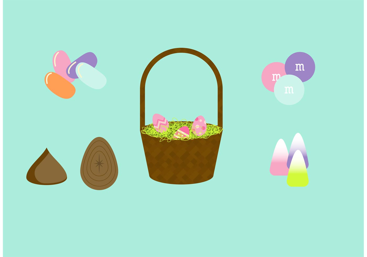 Cute Candy Corn Wallpaper Easter Basket Vector Set Download Free Vector Art Stock