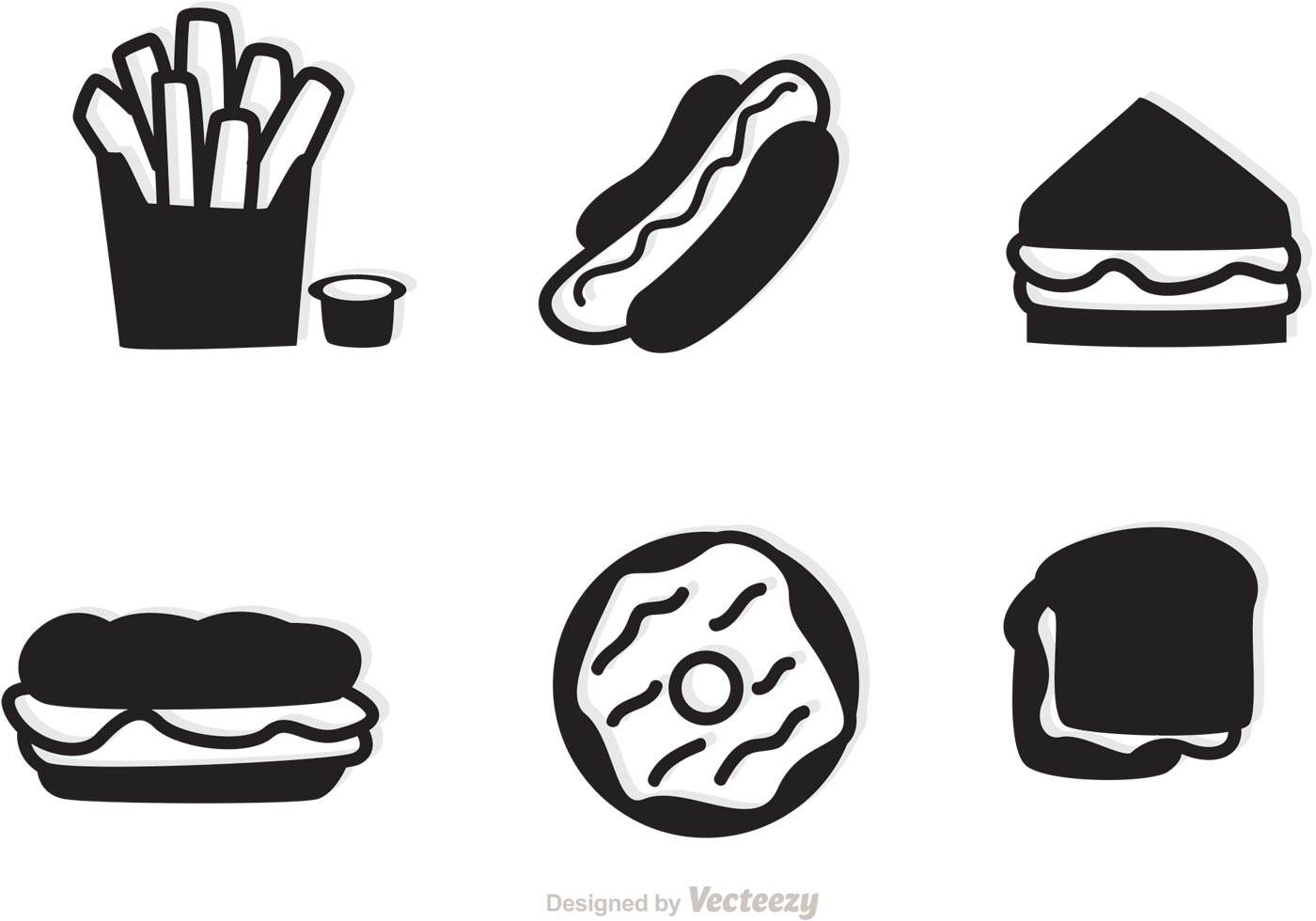 Fast Food Icons Vector Silhouettes
