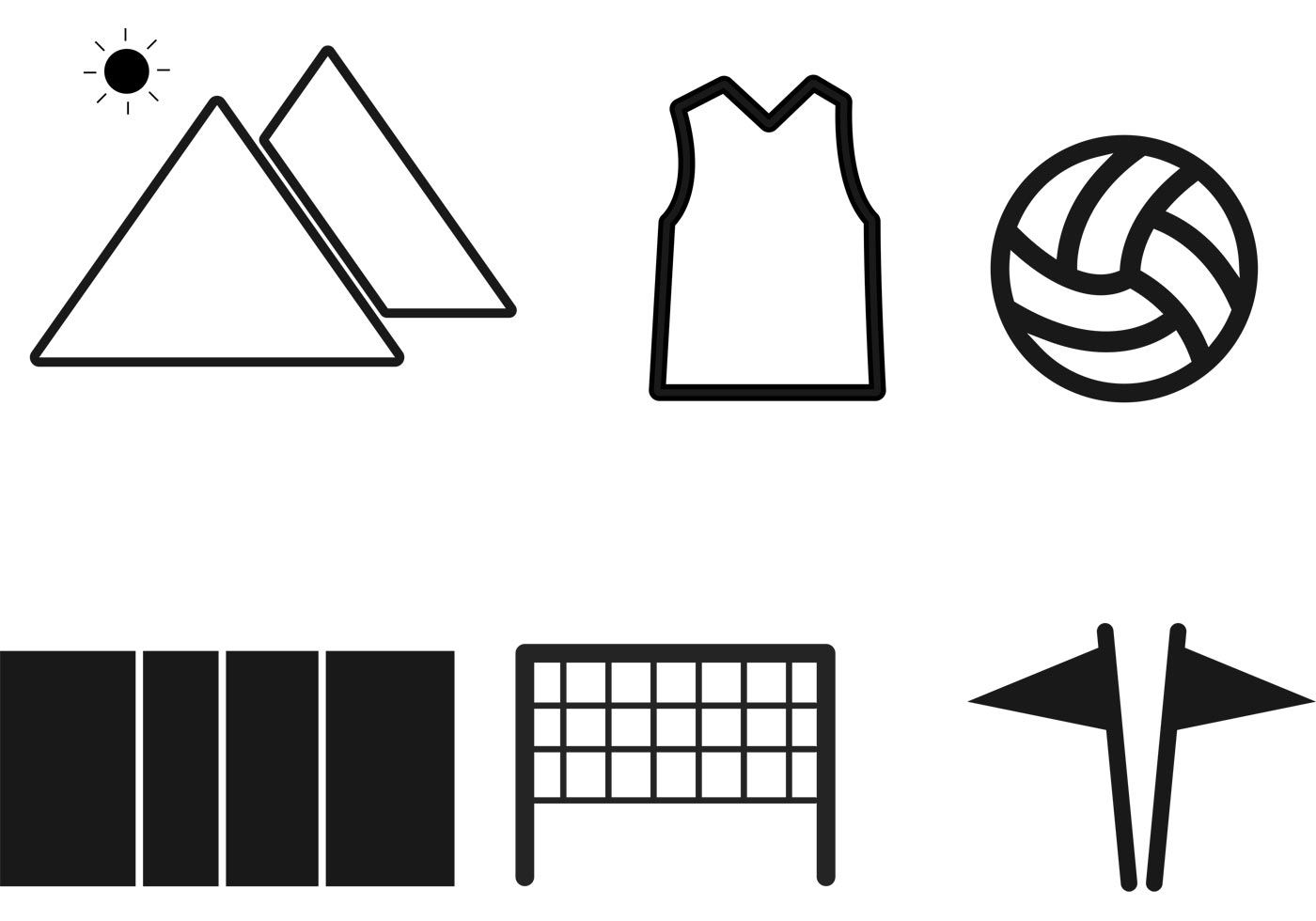 Volleyball Icons Vectors