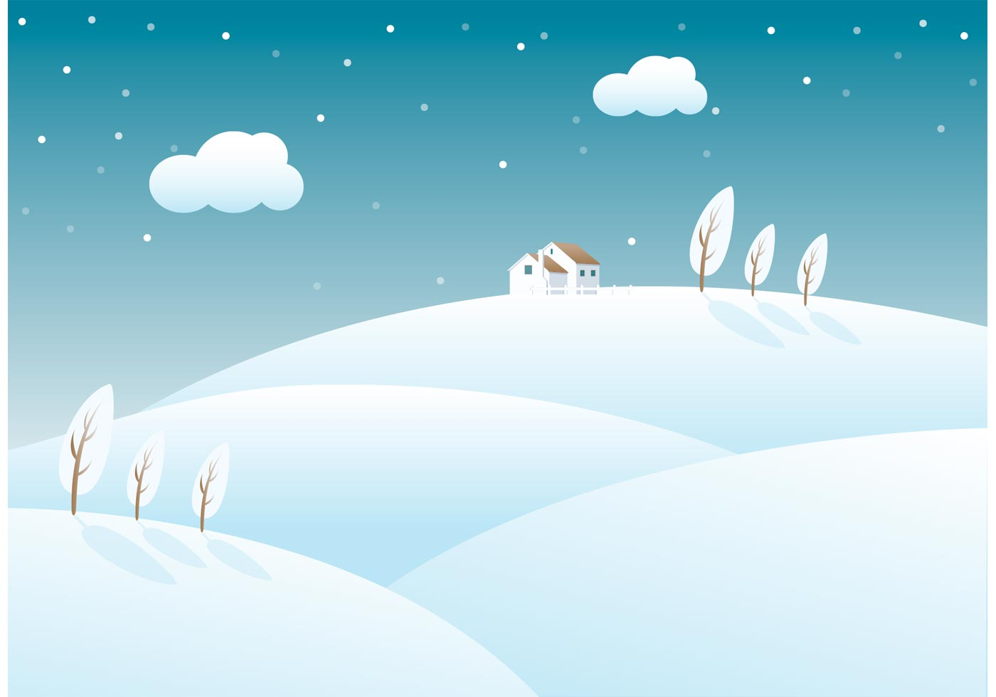 Cute Cartoon Penguin Wallpapers Free Snow Covered Rolling Hills Vector Download Free