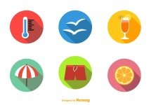 Summer Beach Flat Icons - Free Vector Art Stock