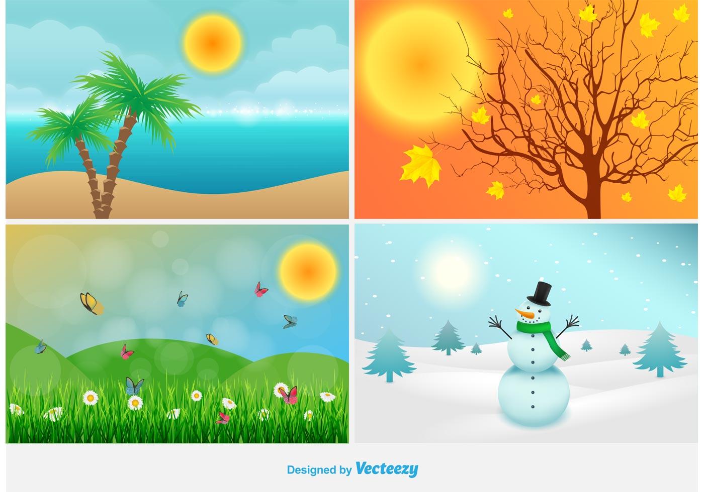 Four Seasons Landscape Illustrations