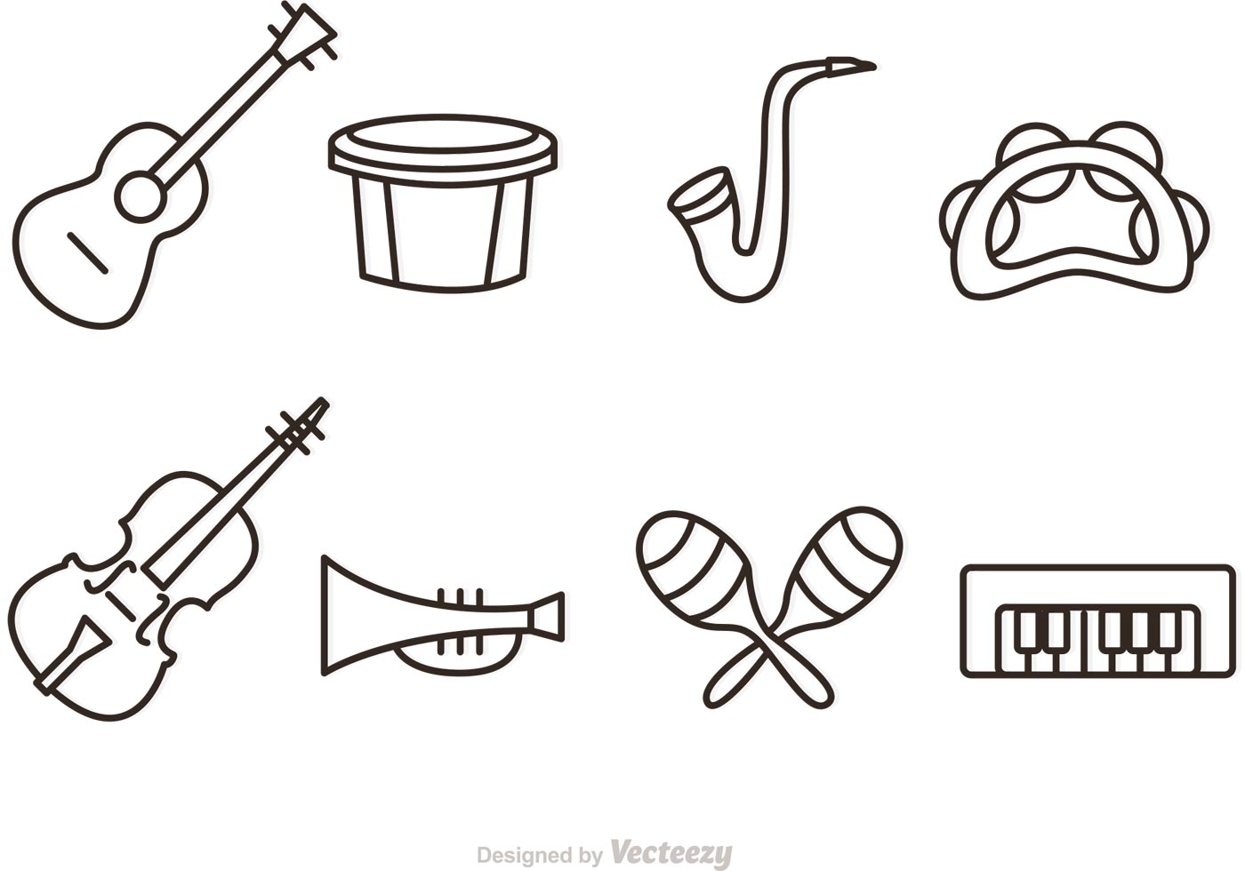 Outline Music Instrument Vector Icons