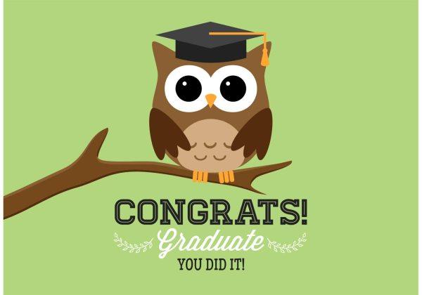 Free Graduation Owl Vector Card - Art