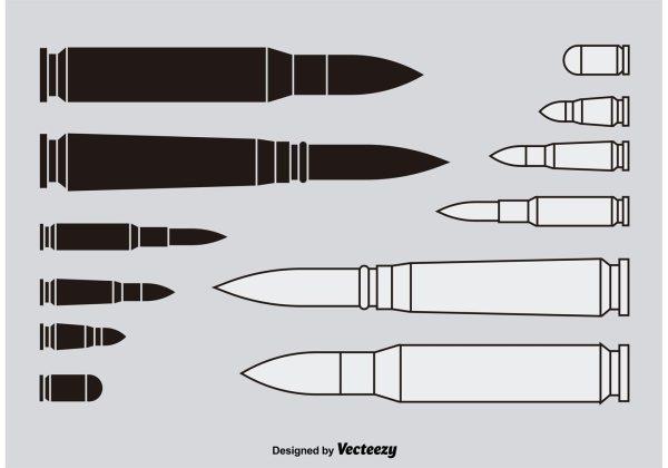 Shotgun Shells Silhouettes - Free Vector Art