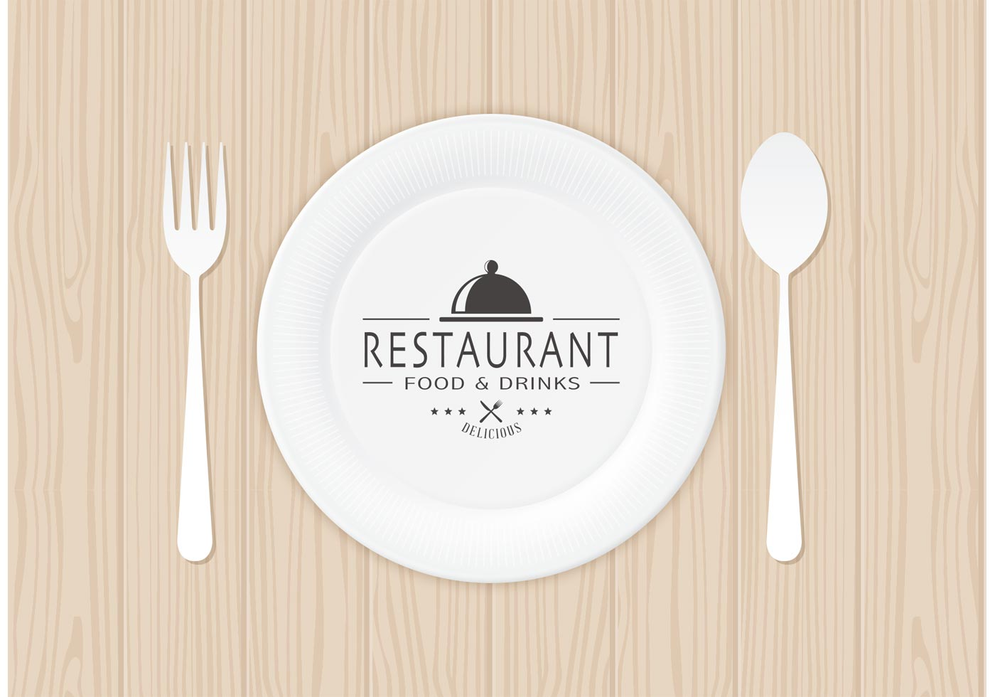 Restaurant Logo On Paper Plate Vector  Download Free Vector Art Stock Graphics  Images