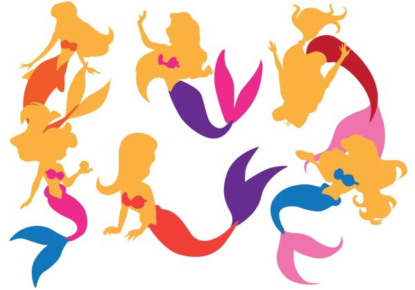 Mermaid Silhouettes - Free Vector Art Stock