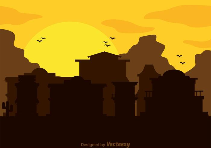 old western town silhouette