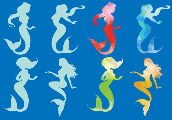 Vector Mermaid Silhouettes - Free Art