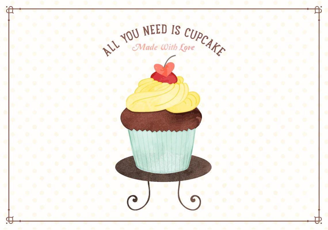 Download Watercolor Cupcake Vector Illustration - Download Free ...