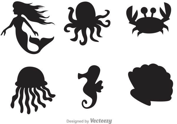Sea Life Silhouette Icons - Free Vector Art