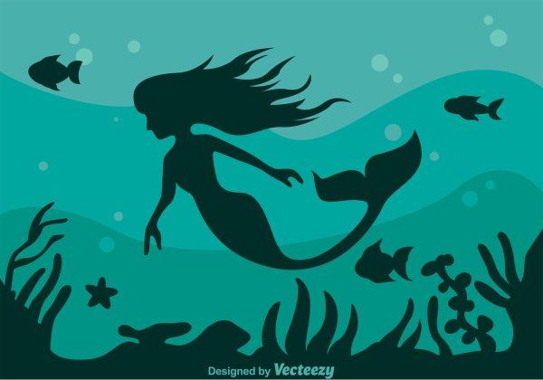 Mermaid Silhouette Background - Free Vector Art