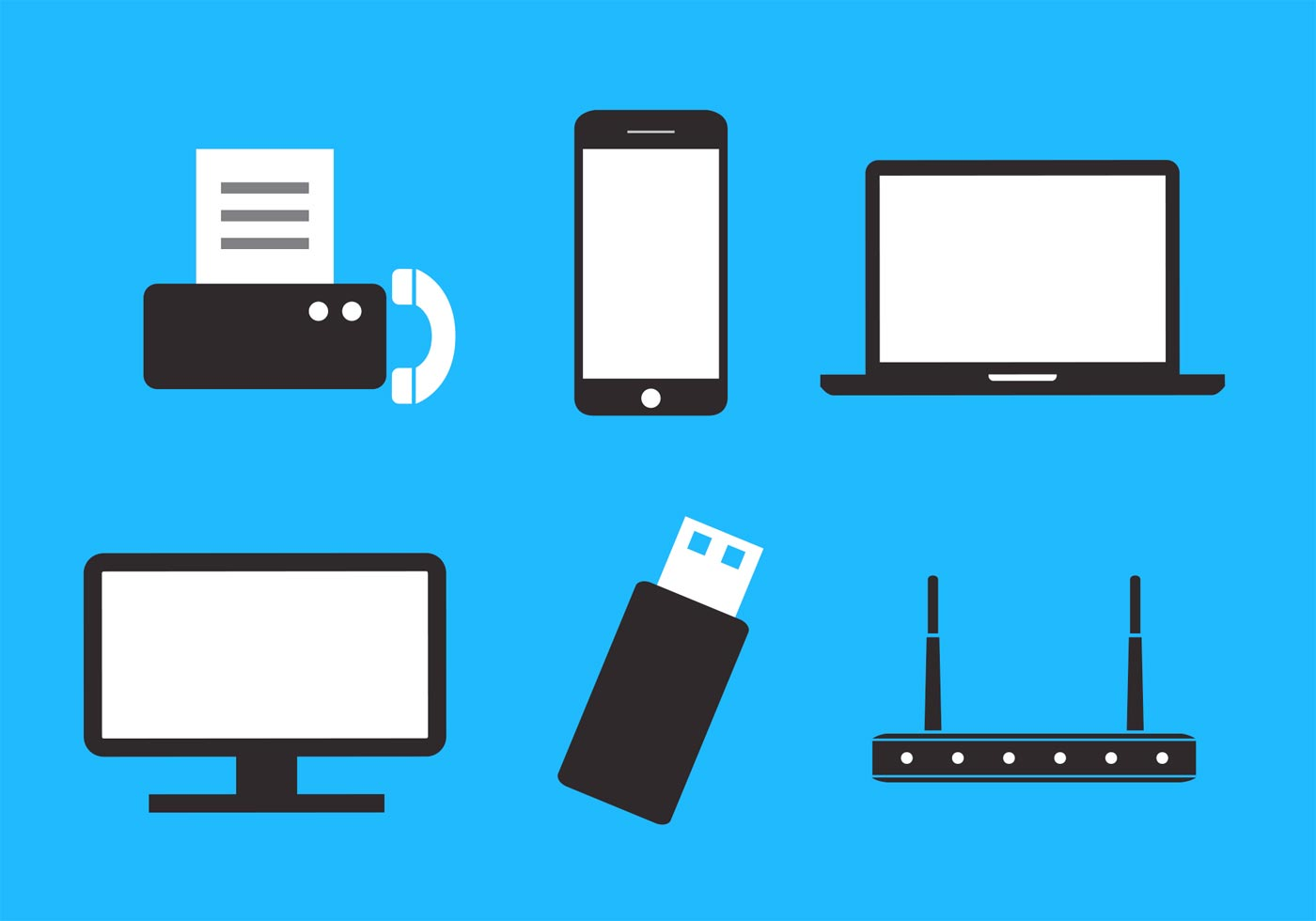Set Of Communication And Data Storage Devices In Vector