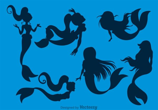 Mermaids Silhouette - Free Vector Art Stock