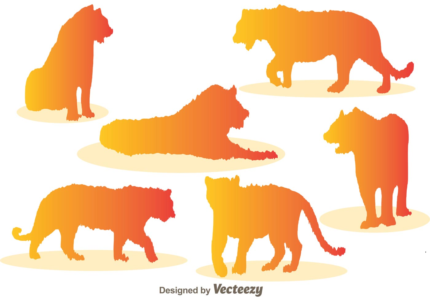 Colorful Animal Print Wallpaper Tiger Silhouette Vector Icons Download Free Vector Art