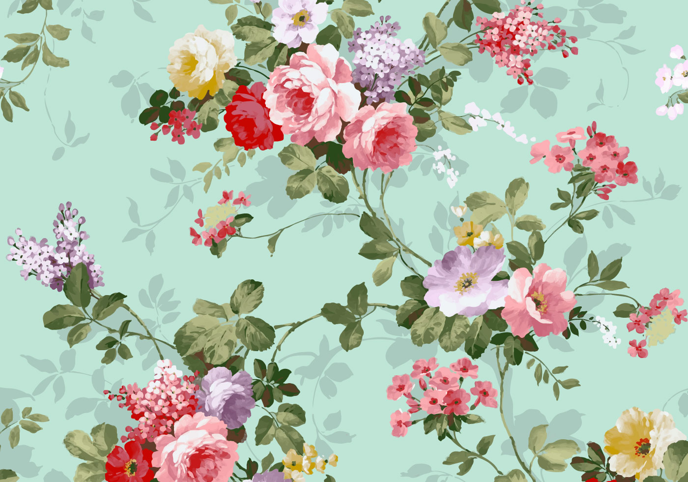 Orange Fall Peonies Wallpaper Beautiful Vintage Pink And Red Roses Textile Vector