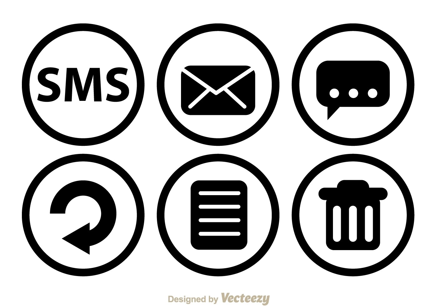 Sms Black Circle Icons