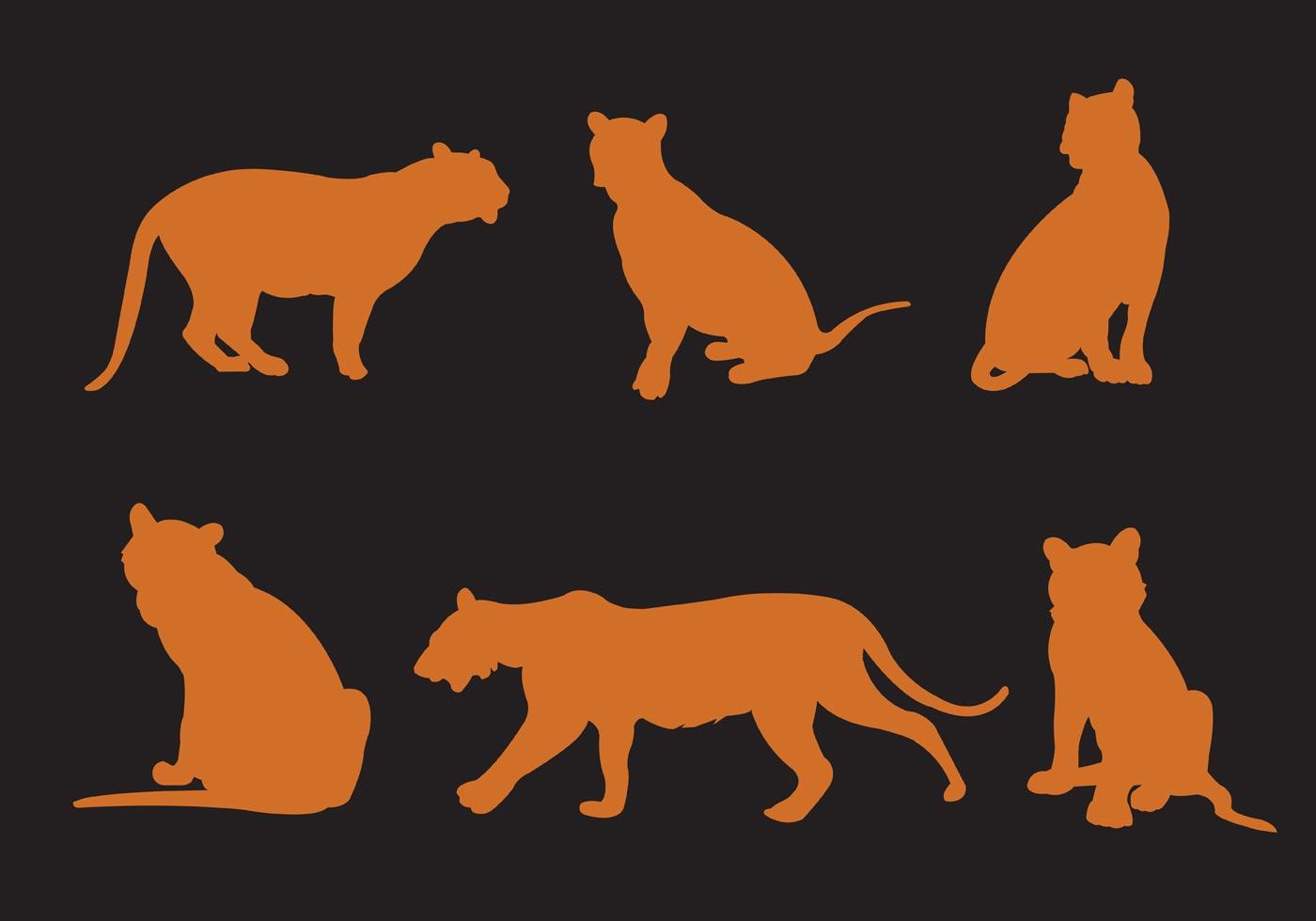 Animal Print Desktop Wallpaper Vector Silhouette Of Tigers Download Free Vector Art