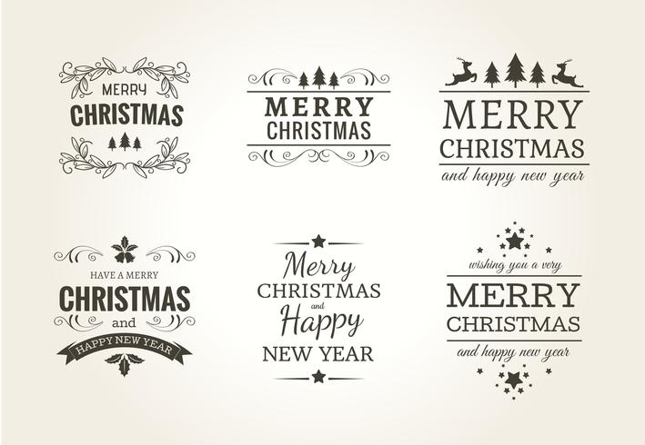 Christmas Typographic Label Set Download Free Vector Art