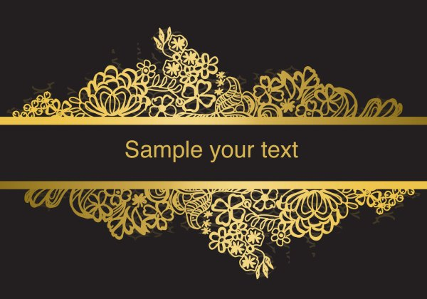 gold frame lace vector