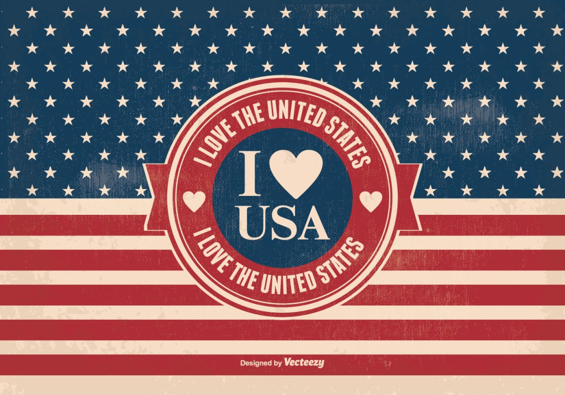 Download I Love the USA Vintage Style Illustration - Download Free ...