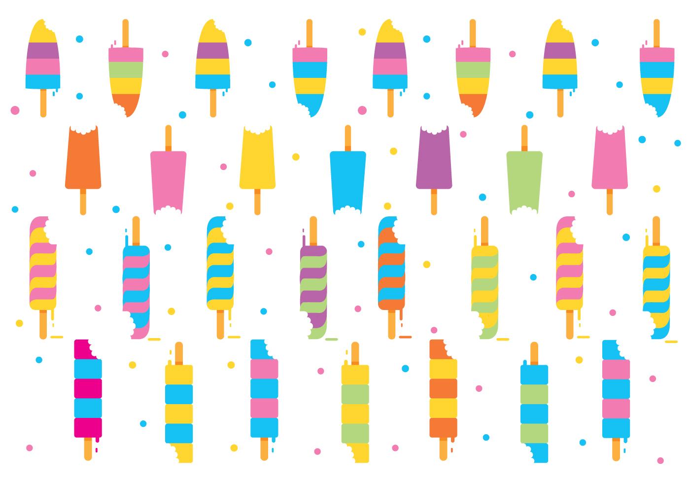 Cute Popsicle Wallpaper Pattern Bite Mark Ice Cream Vector Download Free Vector